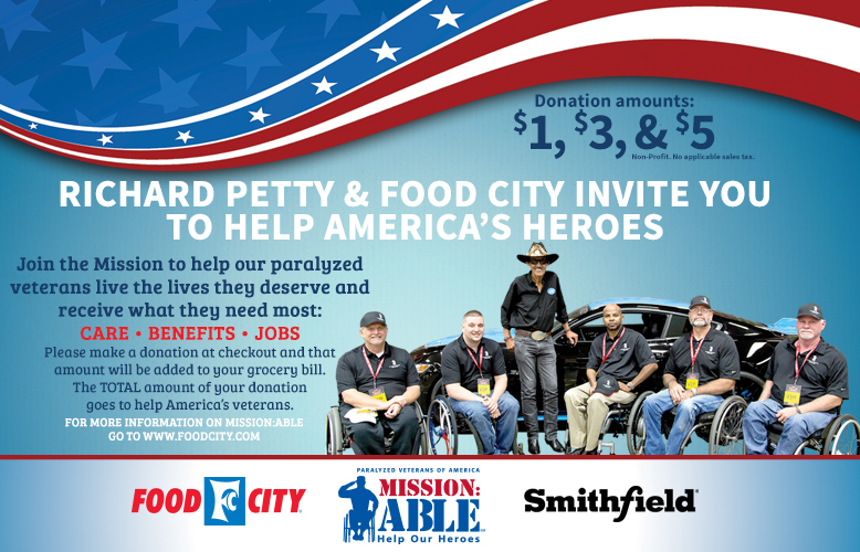 Food City and NASCAR Legend Richard Petty Team up to Benefit Paralyzed Veterans of America's Mission