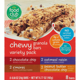 Food Club Variety Pack, Chewy Granola Bars