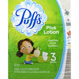 Puffs Plus Lotion White Facial Tissue, 3 Pack