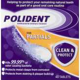 Polident  Partials Triple Mint Freshness Antibacterial Denture Cleaner Tablets - 40 Ct