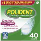 Polident  Smokers Triple Mint Freshness Antibacterial Denture Cleaner Tablets - 40 Ct