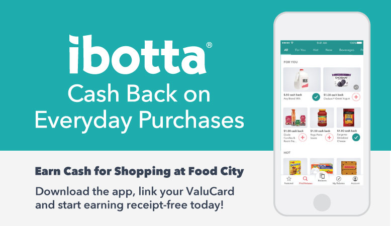 Earn Cash for Shopping at Food City with the ibotta app. Download the app, link your ValuCard and start earning receipt-free today!