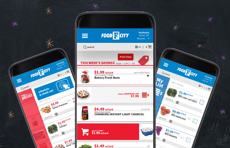 Shopping fresh, local and affordable just got easier with the Food City mobile app. Our new Food City app places all the time and money saving conveniences of our store at your finger tips. Get organized and simplify your grocery shopping experience: order groceries, create shopping list, clip coupons and more!