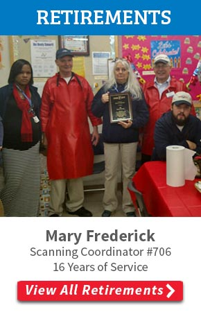 Mary Frederick  Scanning Coordinator for store #706 in Chattanooga, TN retires after 16 years of service