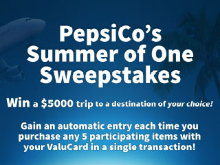 Win a $5,000 vacation to a destination of your choice from your friends at PepsiCo and Food City!