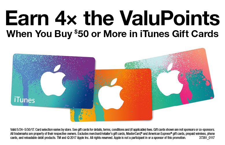 Earn 4x Valupoints with purchase of select Gift Cards