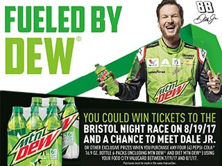 You could win an exclusive Bristol Motor Speedway Racing Experience Prize Package including to tickets to the Bass Pro Shops NRA Night Race and Meet & greet with Dale Earnhardt, Jr.