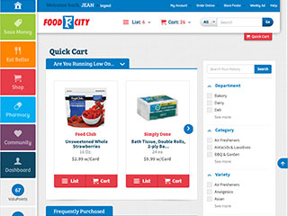 Quick Cart is easily accessible from the Shop page or at the top right of any page when your are logged into your FoodCity.com account.