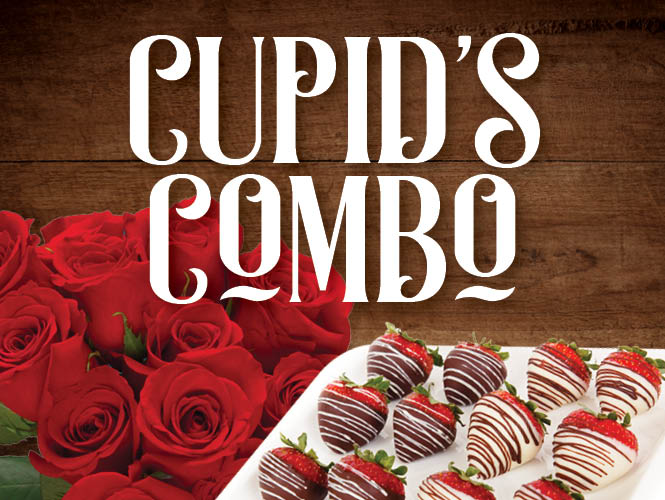 Show your affection with a Cupid's Combo from Food City; a dozen fresh cut roses and a dozen hand dipped chocolate strawberries for only $29.99