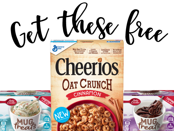 FREE Cheerios Oat Crunch Cereal and (1) Betty Crocker Mug Treat with your $50 or more GoCart order!