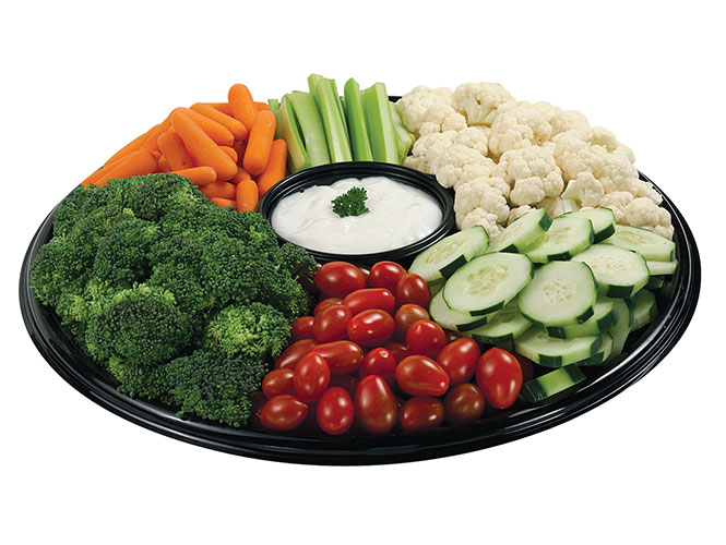 Try the Garden Spot party platter for your next get-together! A bountiful harvest of fresh baby carrots, celery sticks, broccoli, cauliflower, grape tomatoes and cucumber slices with a creamy ranch dip.