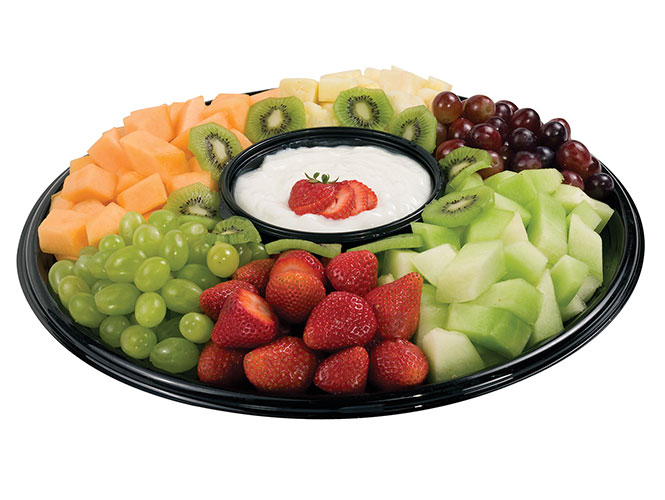The Fresh Fruit Medley party platter features a sweet selection of fruits of the season including strawberries, grapes, pineapple, honeydew, cantaloupe and kiwi with a dip made of delicious whipped cream cheese as a centerpiece. Order yours online from Food City's Deli today.