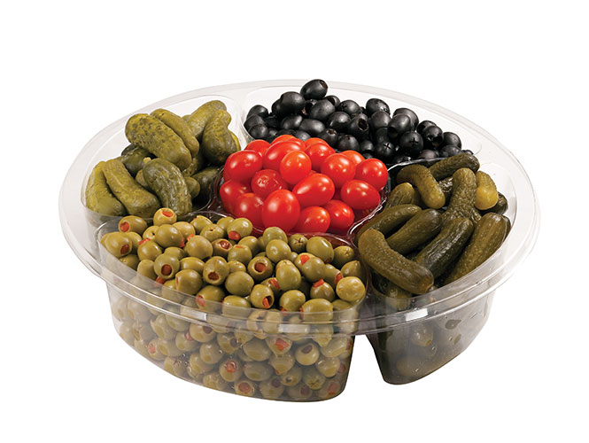 Great as a condiment assortment or on its own, The Food City relish tray from our Bakery & Deli includes baby kosher dill pickles, Spanish olives, sweet gherkin baby pickles, pitted olives and grape tomatoes.