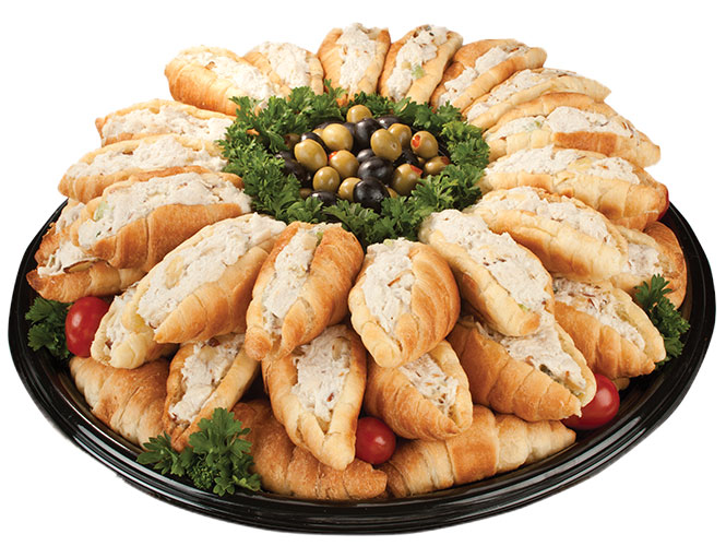 These croissants may be small but they deliver big flavor. Buttery, flaky fresh baked petite croissant, straight from our Bakery, are stuffed with our fresh made signature Deli chicken salad. Order this tasty crowd pleasing platter today from your local Food City.
