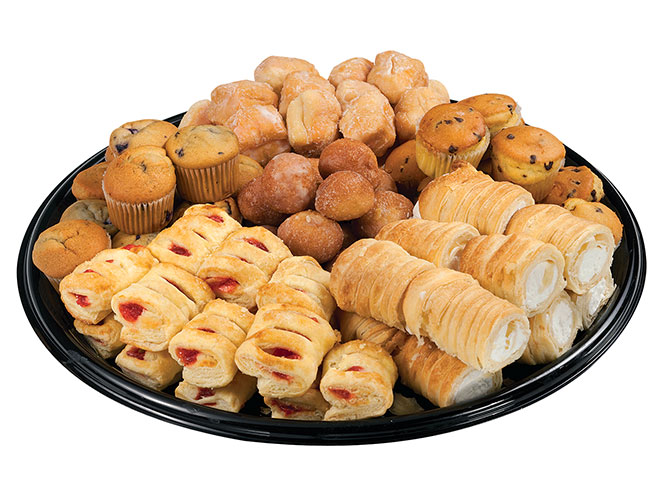 The European Pastry tray from Food City is a pastry lovers dream, featuring a selection of chocolate chip muffins, blueberry muffins, creme horns, strawberry mini sticks and old fashioned doughnut holes.
