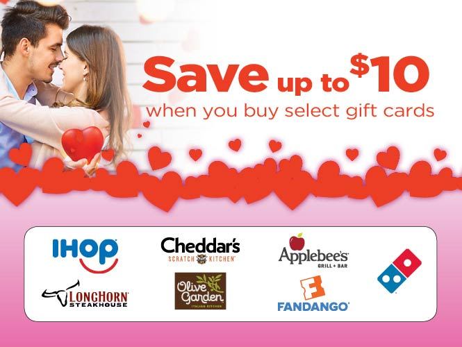 Save up to $10 when you purchase selct gift cards at your local Food City grocery location.