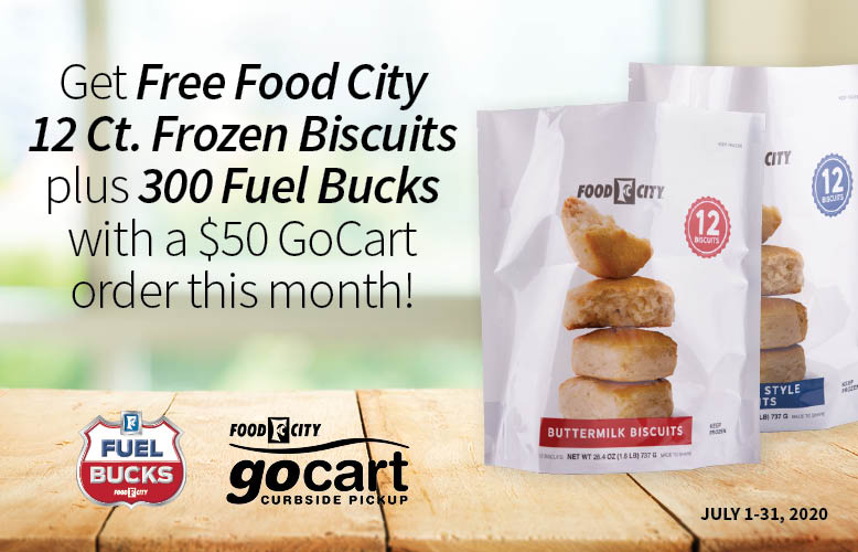 We have a great free offer for you this month when you pick up your $50 or more grocery order curbside with GoCart by Food City.