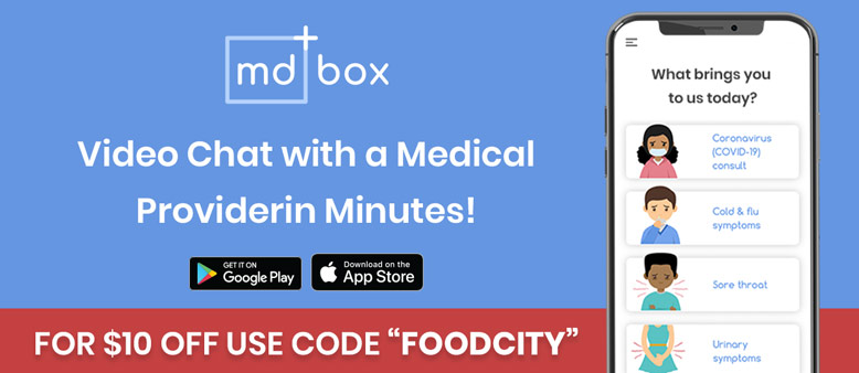 Save $10 on your first teleheatlh visit with MDBox when you use the code