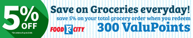 Save 5 percent on groceries everyday with ValuPoints
